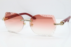 Cartier Rimless T8200762 Big Diamond Marble Red Aztec Arms Sunglasses In Gold Pink Lens