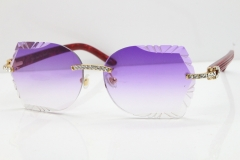 Cartier Rimless T8200762 Big Diamond Marble Red Aztec Arms Sunglasses In Gold Purple Lens