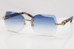 Cartier Rimless T8200762 Big Diamond Purple Aztec Arms Sunglasses In Gold Blue Lens