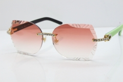 Cartier Rimless T8200762 Big Diamond Black Inside Green Aztec Arms Sunglasses In Gold Pink Lens