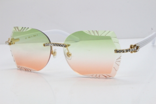 Cartier Rimless T8200762 Big Diamond White Aztec Arms Sunglasses In Gold Green Brown Lens