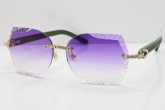 Cartier Rimless T8200762 Big Diamond Green Aztec Arms Sunglasses In Gold Purple Lens