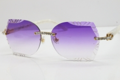 Cartier Rimless T8200762 Big Diamond Marble White Aztec Arms Sunglasses In Gold Purple Lens