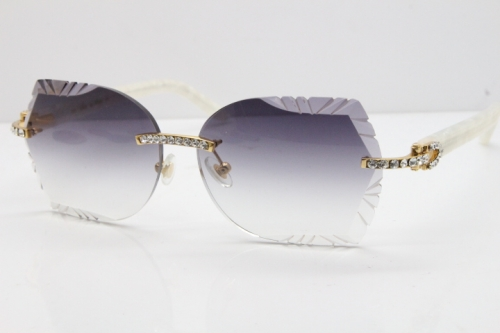 Cartier Rimless T8200762 Big Diamond Marble White Aztec Arms Sunglasses In Gold Gray Lens