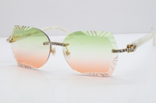 Cartier Rimless T8200762 Big Diamond Marble White Aztec Arms Sunglasses In Gold Green Brown Lens
