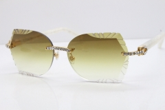 Cartier Rimless T8200762 Big Diamond Marble White Aztec Arms Sunglasses In Gold Brown Lens