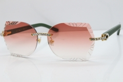 Cartier Rimless T8200762 Big Diamond Green Aztec Arms Sunglasses In Gold Red Lens