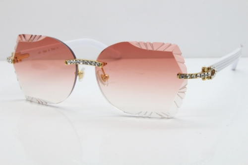 Cartier Rimless T8200762 Big Diamond White Aztec Arms Sunglasses In Gold Red Lens