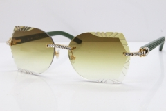 Cartier Rimless T8200762 Big Diamond Green Aztec Arms Sunglasses In Gold Brown Lens