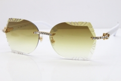 Cartier Rimless T8200762 Big Diamond White Aztec Arms Sunglasses In Gold Brown Lens