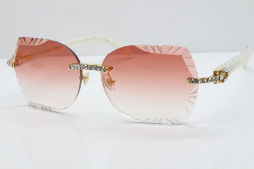 Cartier Rimless T8200762 Big Diamond Marble White Aztec Arms Sunglasses In Gold Red Lens