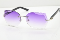 Cartier Rimless T8200762 Black Aztec Arms Sunglasses In Silver Purple Lens