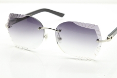Cartier Rimless T8200762 Black Aztec Arms Sunglasses In Silver Gray Lens