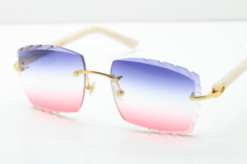 Cartier Rimless 8300816 White Aztec Arms Sunglasses In Gold Blue Mix White Pink Lens