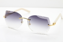 Cartier Rimless T8200762 White Aztec Arms Sunglasses In Gold Gray Lens