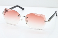 Cartier Rimless T8200762 Black Aztec Arms Sunglasses In Silver Pink Lens