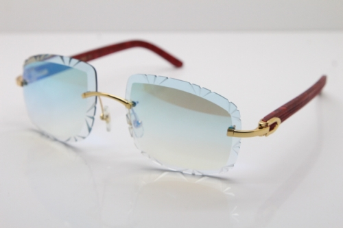 Cartier Rimless 8300816 Marble Red Aztec Arms Sunglasses In Gold Blue Mirrow Lens