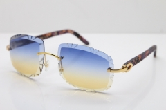 Cartier Rimless 8300816 Marble Purple Aztec Arms Sunglasses In Gold Blue Mix Yellow Lens
