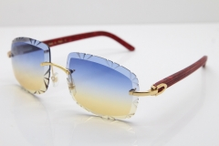 Cartier Rimless 8300816 Marble Red Aztec Arms Sunglasses In Gold Blue Mix Yellow Lens